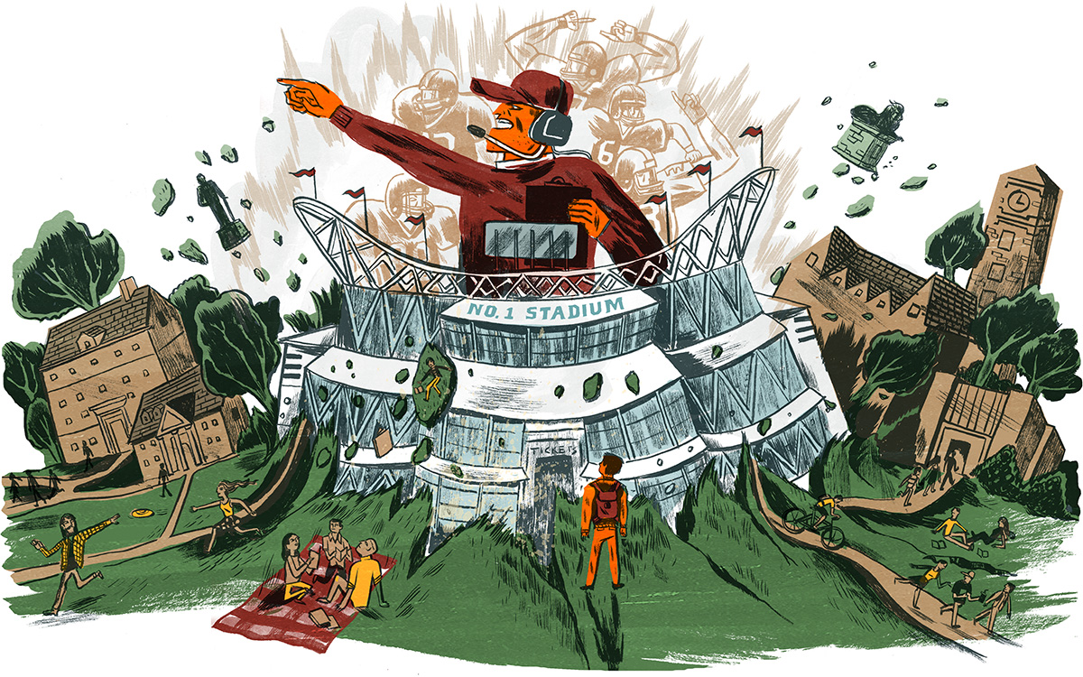 stadium eruption illustration