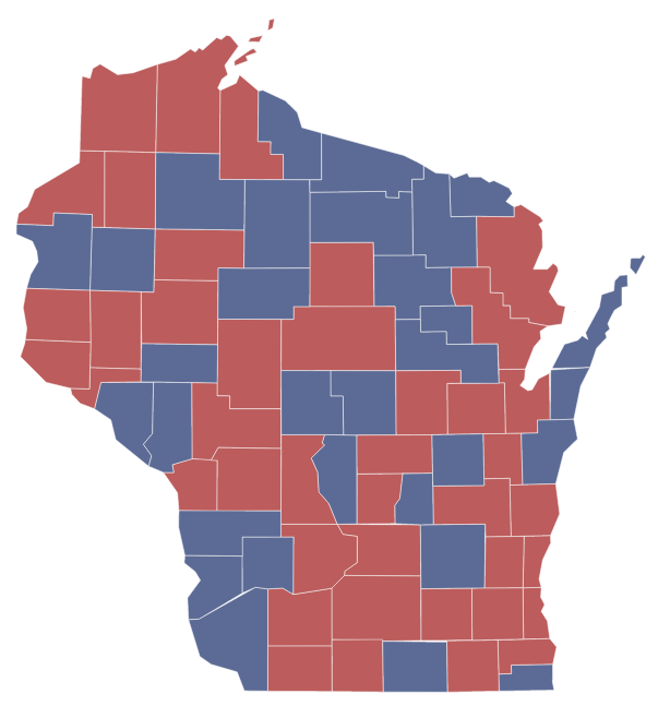 Wisconsin Recall Election Results Map - Us map of voting results by county